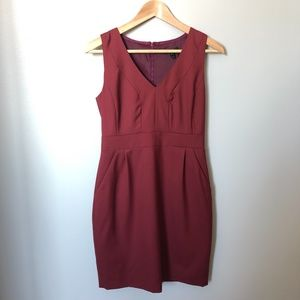 J CREW sleeveless burgundy v-neck dress pockets 4P